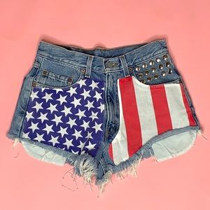 Levi's Button Up Fly American Flag Denim Shorts